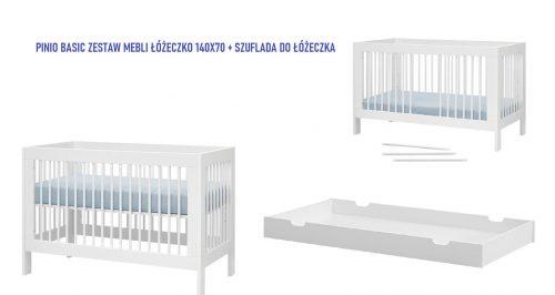 Pinio Basic zestaw mebli łóżeczko 140x70 szufalda