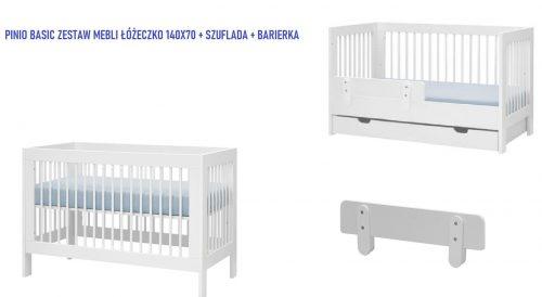 Pinio Basic zestaw mebli łóżeczko 140x70 szufalda barierka