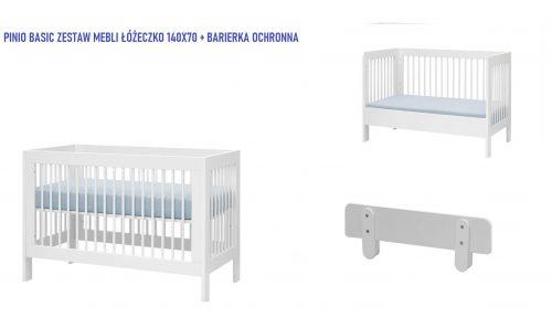 Pinio Basic zestaw mebli łóżeczko 140x70 barierka