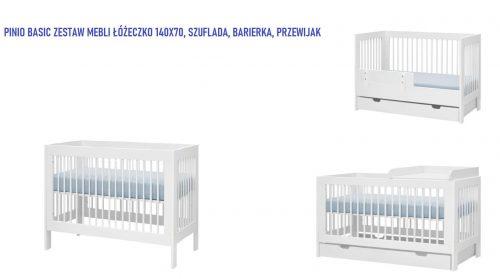 Pinio Basic zestaw mebli łóżeczko 140x70 z szufladą, barierką oraz przewijakiem na łóżeczko