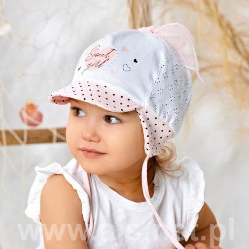 Czapeczka dziewczęca na lato rozmiar 42 łosoś biały
