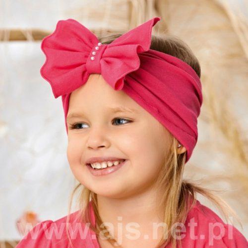 Opaska dziewczęca z kokardą rozmiar 48-50 róż brudny