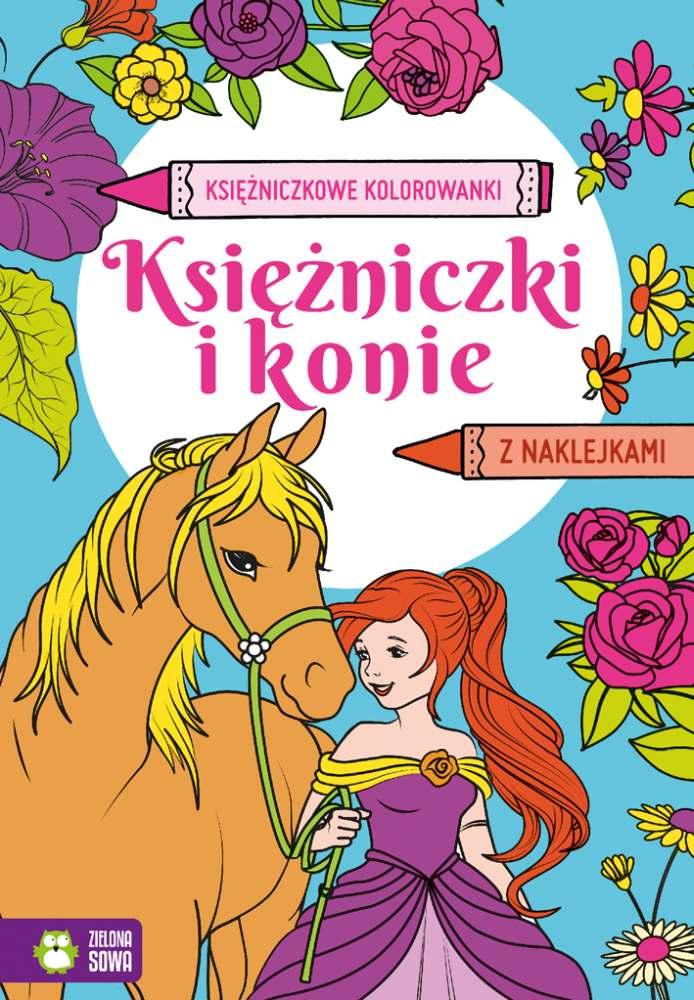 Księzniczkowe kolorowanki z naklejkami Księżniczki i konie 4+