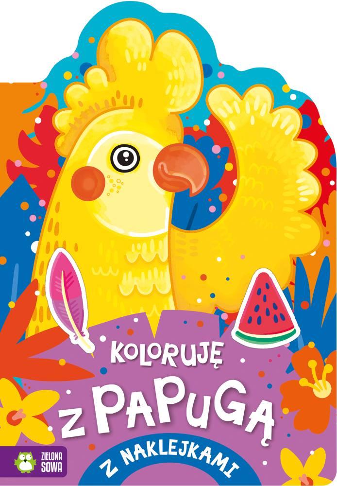 Kolorowanka z naklejkami Koloruję z papugą 4+