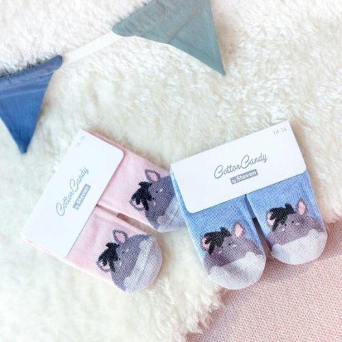 Skarpetki niemowlęce bawełniane rozm 17-19 wzór błękit osiołek