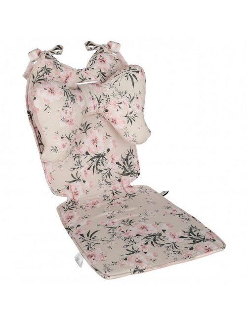 Wkładka bambusowa do wózka z velvetem Kwiaty brudny róż