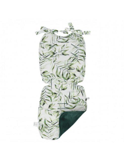 Bambusowa wkładka do wózka z velvetem Liście