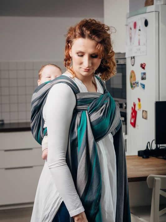 Lenny Lamb tkana chusta do noszenia dzieci Smoky mięta rozm M (4.6m)
