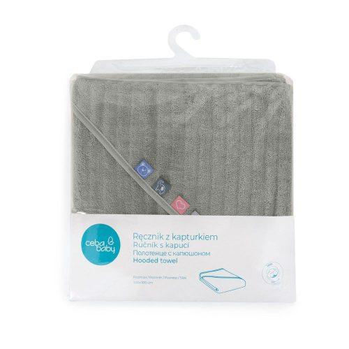 Okrycie kąpielowe, ręcznik dla niemowlaka 100x100 Grey Wave Line Ceba