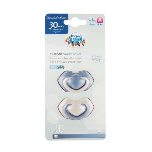 Symetryczny smoczek silikonowy 0-6m Canpol Pure Color 2 szt niebieski