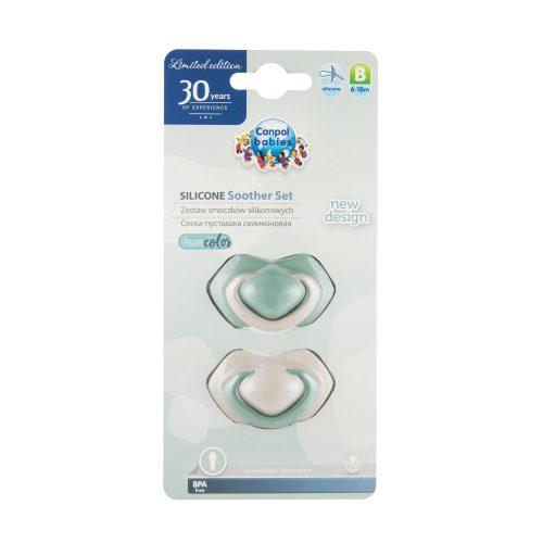 Symetryczny smoczek silikonowy 6-18m Canpol Pure Color 2 szt zielony