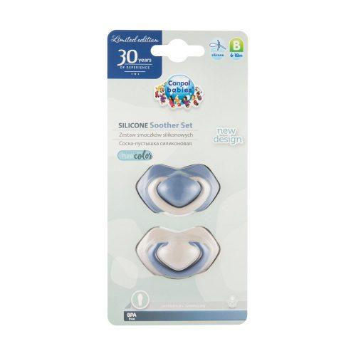 Symetryczny smoczek silikonowy 6-18m Canpol Pure Color 2 szt niebieski