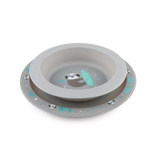 Canpol zestaw naczyń 2 elementy talerz i miseczka Szary leniwiec 4m+