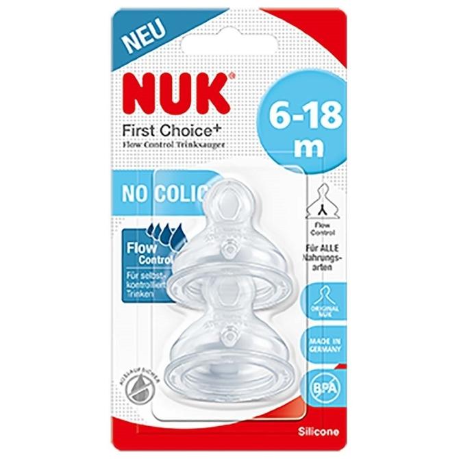 Nuk smoczek fc+ do butelki silokonowy 6-18m flow control 2szt kaszka