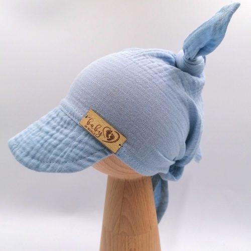 Muślinowa chusta niemowlęca na głowę niebieska one size