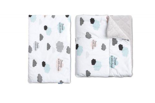Komplet do łóżeczka kołderka i poduszka Chmurki plusz karo 95x75 35x25 Sensillo