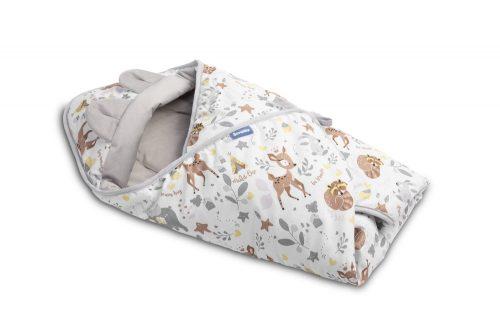 Otulacz do fotelika śpiworek Velvet leśna przygoda biały 90x90 Sensillo