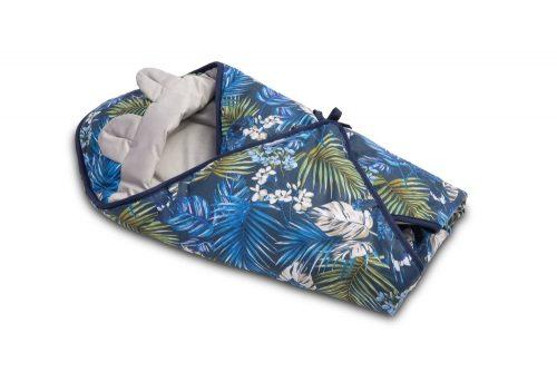Otulacz do fotelika śpiworek Velvet niebieski papugi 90x90 Sensillo