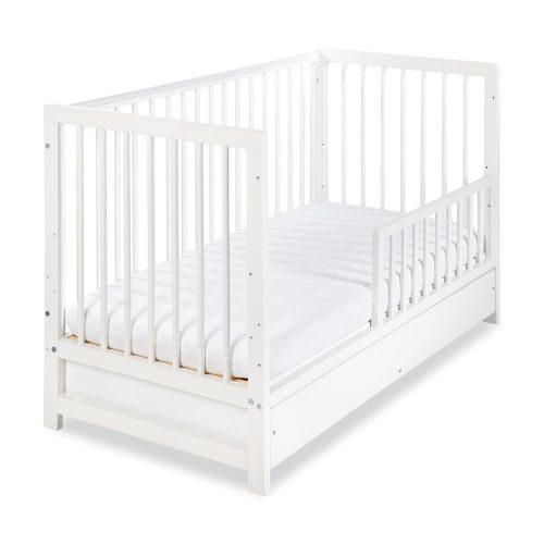 Klupś łóżeczko dziecięce 120x60 Timi biały z szufladą, barierką, gryzaki