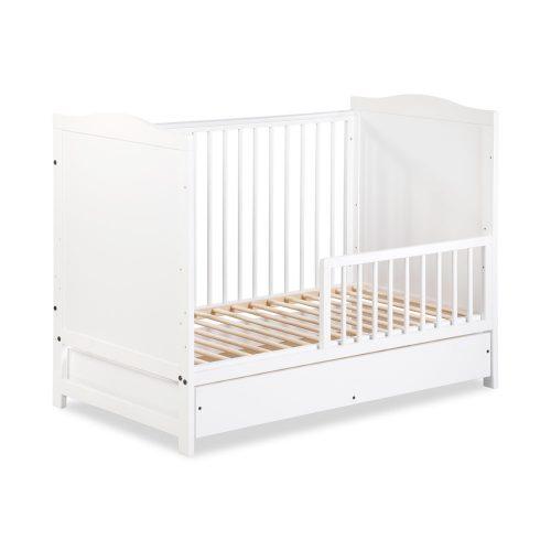 Klupś łóżeczko dziecięce z szufladą i barierką i gryzakami 120x60 Felix biały