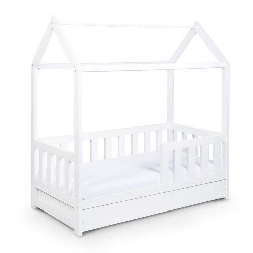 Klupś łóżeczko młodzieżowe 160x80 Domek z szufladą i barierką biały