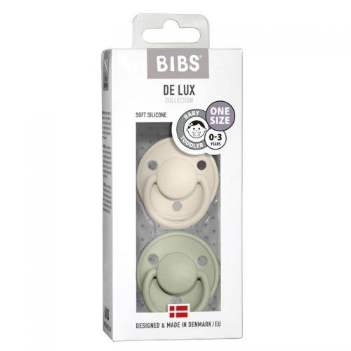 Bibs de lux smoczek uspokajający silikonowy 0-36m+ 2 pack Ivory-Sage