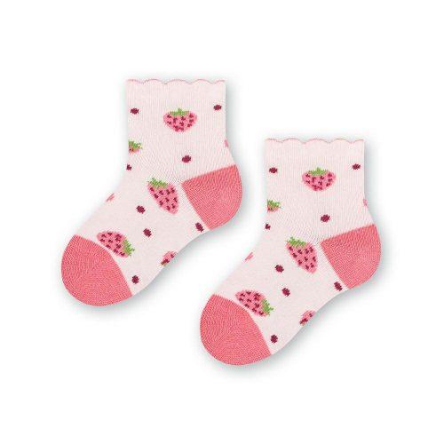 Skarpetki niemowlęce bawełniane 138 rozm 14-16 wzór róż truskawka