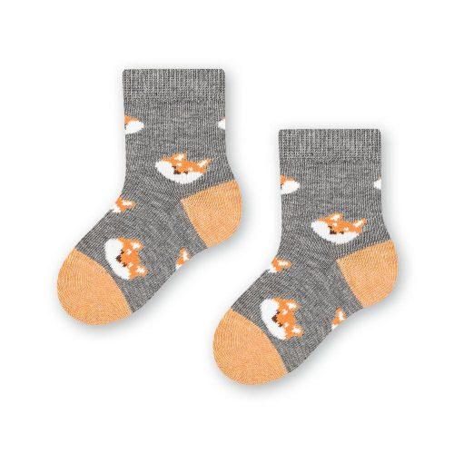 Skarpetki niemowlęce bawełniane 138 rozm 17-19 wzór szary lis