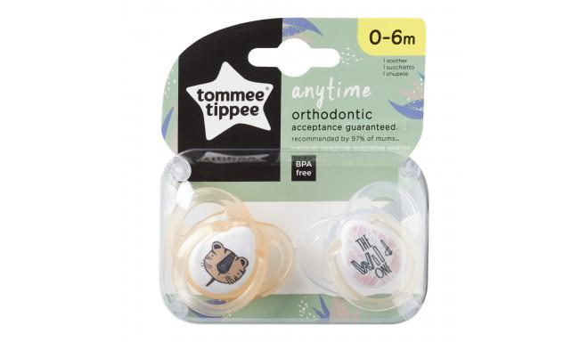 Symetryczne smoczki uspokajające Tommee Tippee Any Time 0-6 miesięcy 2 szt. tygrys