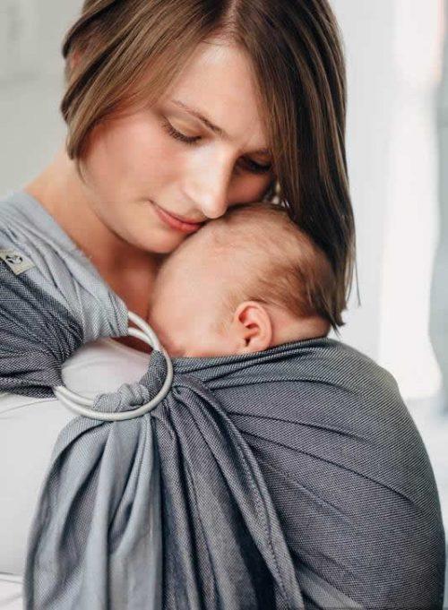 Lenny Lamb pierwsza chusta do noszenia dzieci kólkowa splot skośno-krzyżowy rozm Standard (1,8m) Howlit
