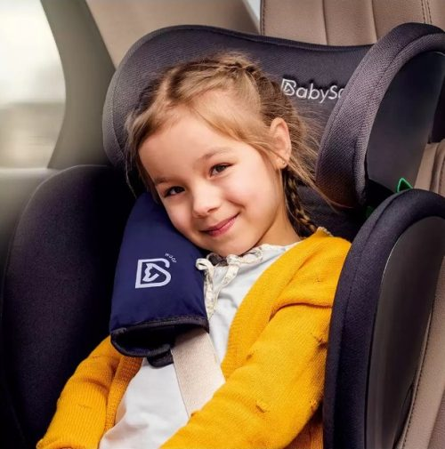 Osłonka na pas samochodowy dla dziecka z funkcją poduszki do spania kolor Granatowy