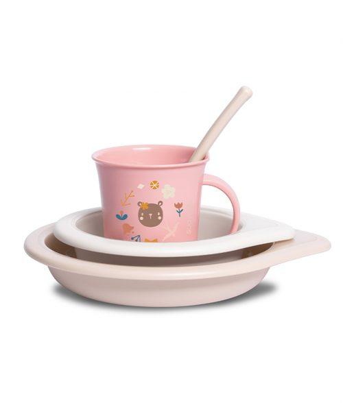 Zestaw obiadowy naczynia dla dziecka Forest Suavinex różowy