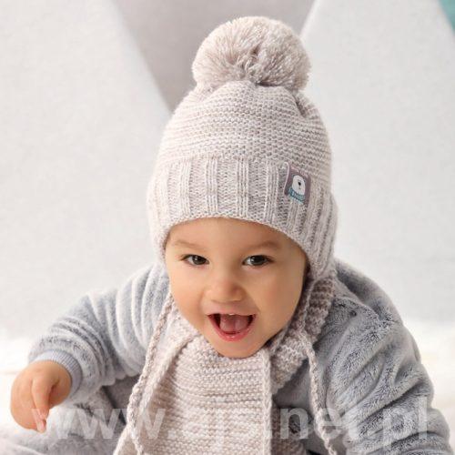 Czapka zimowa + szalik dla dziecka komplet 36-38 kolor F