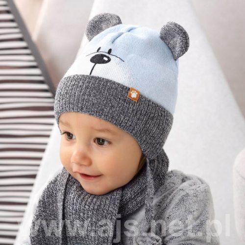 Czapka zimowa + szalik dla dziecka komplet 44-46 kolor E