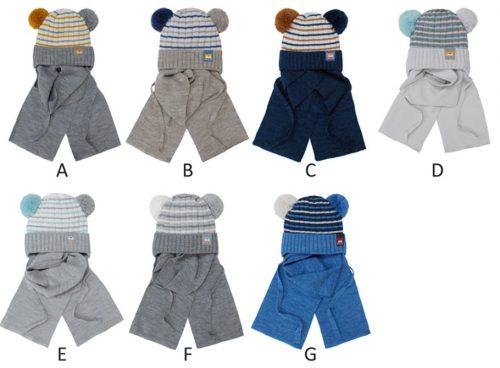 Czapka zimowa + szalik dla dziecka komplet 40-42 kolor C