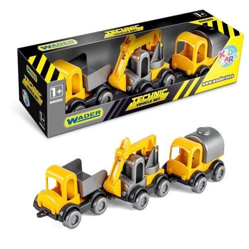 Zestaw 3 samochodów budowlanych Wader 60021