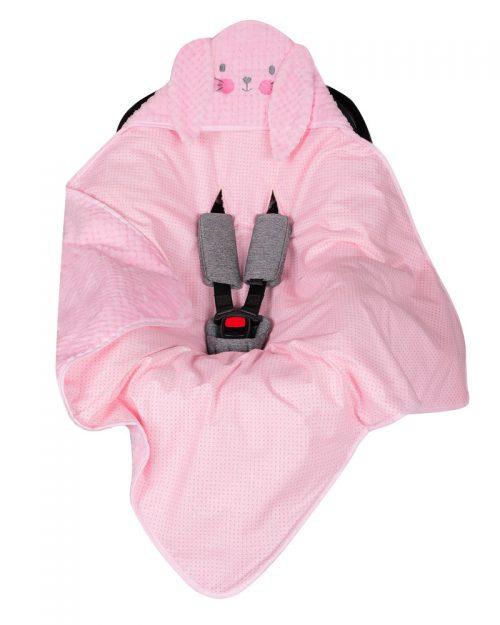 Kocyk do fotelika samochodowego 9-13 kg  80x80 zawijak animals różowy królik