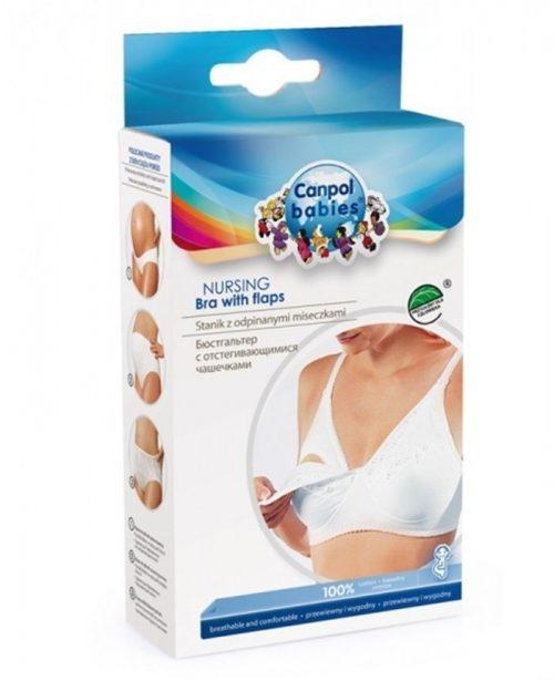 Biały biustonosz dla karmiącej mamy 100% bawełny Canpol Babies z odpinanymi miseczkami 80 D