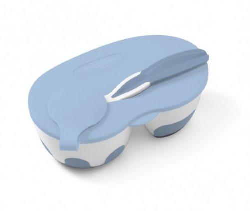 Dwukomorowa miseczka dla dziecka z łyżeczką Niebieska