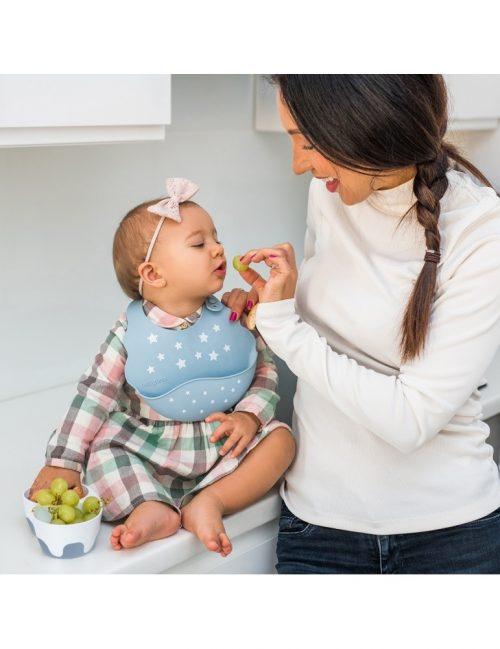 Dwukomorowa miseczka dla dziecka z łyżeczką różowa