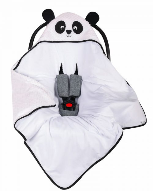 Kocyk do fotelika samochodowego, śpiworek do fotelika biały panda