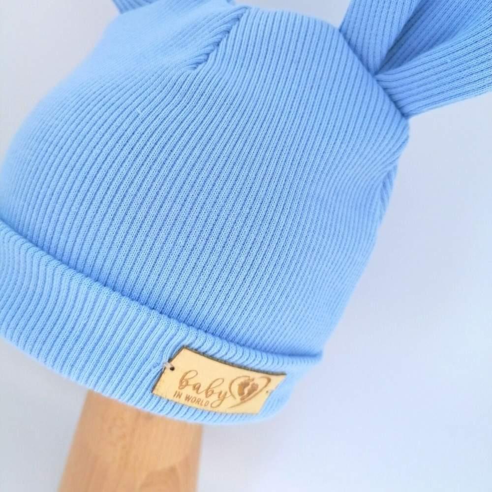 Czapka Niem. Prążek Baby Blue 0-3mc
