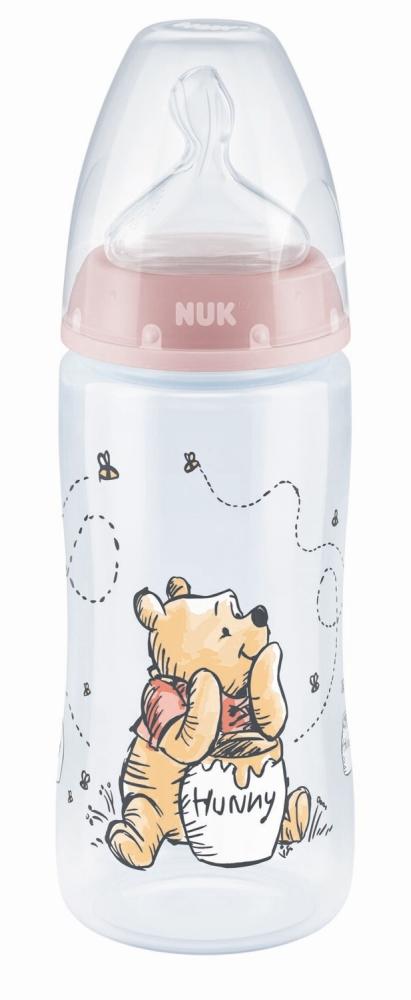 Butelka 300ml Nuk wskaźnik temreratury smoczek 0+ Kubuś Puchatek - różowa