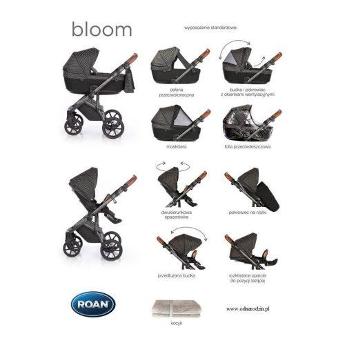 Roan Bloom wózek głęboko spacerowy zestaw 4w1 z fotelikiem Avionaut Pixel PRO isofix 0-13 kg kolor Black Dots + GRATIS