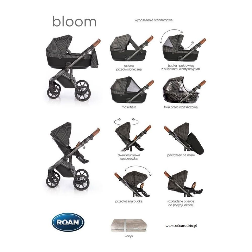 Wózek głęboko spacerowy Roan Bloom zestaw 4w1 z fotelikiem Avionaut Pixel Pro isofix 0-13 kg 4*ADAC kolor Grey Dots + GRATISY