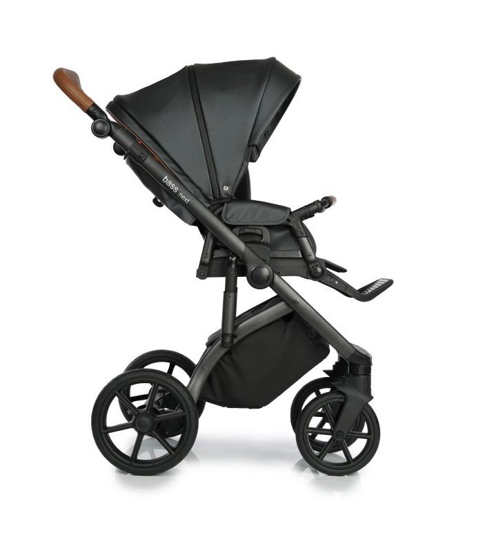 Roan Bass Next wózek glęboko spacerowy zestaw 3w1 z fotelikiem Kite 0-13 kg kolor Black Pearl + Gratis!