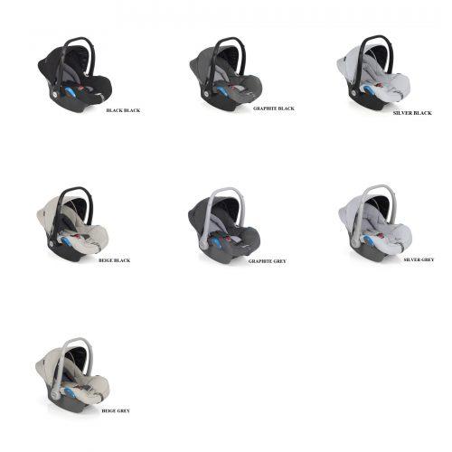 Wózek głęboko spacerowy Roan Bass Next zestaw 3w1 z fotelikiem Kite kolor Pearl Dark Grey + Adaptery GRATIS