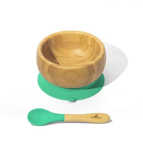 Bambusowa mieseczka z przyssawką zielona Avanachy + łyżeczka