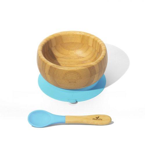 Bambusowa mieseczka z przyssawką niebieska Avanachy + łyżeczka