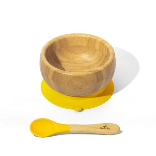 Bambusowa mieseczka z przyssawką żółta Avanachy + łyżeczka